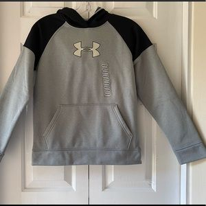 NWT Boys Underarmor Gray Hoodie Sweatshirt Medium